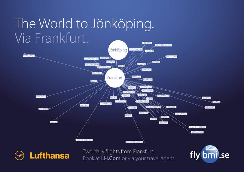 Flyglinjen mellan Jönköping och Frankfurt är idag en väletablerad linje